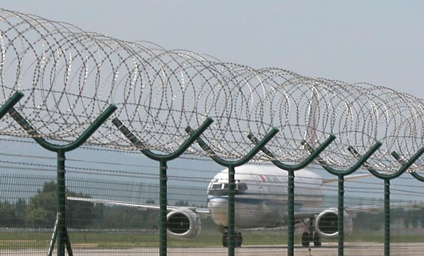 Concertina Wire Coils Above Welded Mesh Panels for High Security Perimeter Fencing