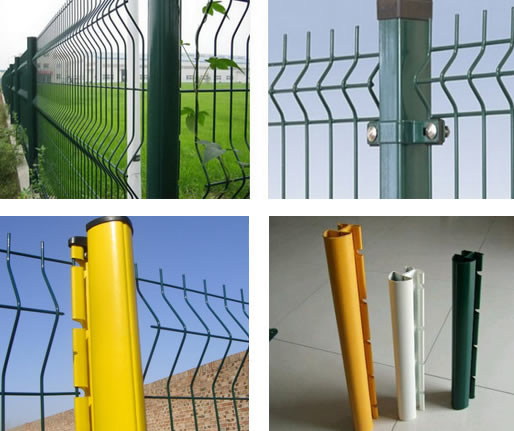PVC Coated Steel Post for Green Coated Welded Mesh Fence Panel Installation